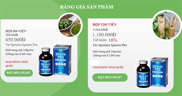 Bảng giá sản phẩm tảo Spirulina Spimate