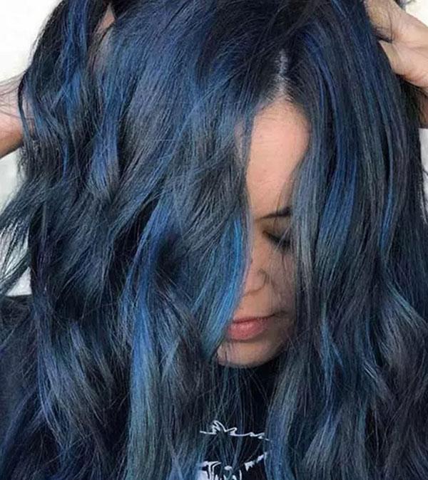 Màu tóc xanh đen Frosted