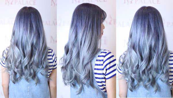 Màu tóc xanh đen khói